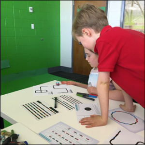 LCPS students learning to code Ozobots. (Source: Leslie Gibson, Twitter, 3/8/16)