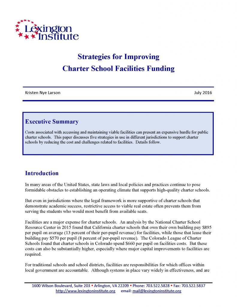 Strategies For Improving Charter School Facilities Funding